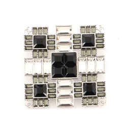 Square Brooch Crystals and Metal XL
