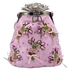 Valentino Floral Pink Satin Baguette
