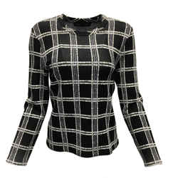 Proenza Schouler Black, Lavender & White Plaid Long Sleeved Sweatshirt