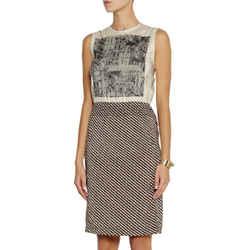 Bottega Veneta Embroidered Printed Stretch-silk Photo-stitch Dress 42 6 Medium
