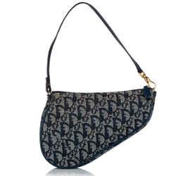 Christian Dior Blue Gray Mini Dior Oblique Canvas Leather Saddle Shoulder Bag