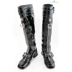Miu Miu Black Patent Leather Zipper Knee-high Boots
