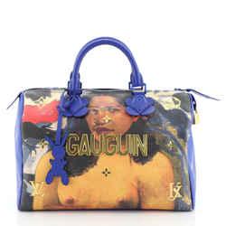 Speedy Handbag Limited Edition Jeff Koons Gauguin Print Canvas 30