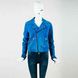 Loewe Blue Suede Zipped Biker Jacket Sz 38