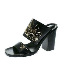 Chloe Black Leather Studded Sandals Size 36