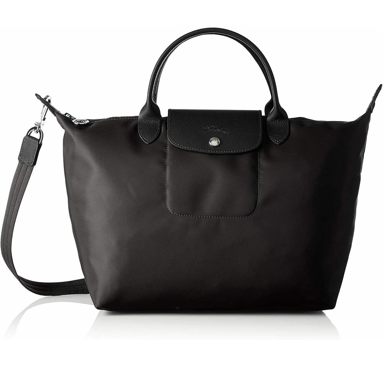 $245 Longchamp Le Pliage Neo Medium Top Handle Nylon Tote Shoulder Bag Black