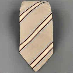 ERMENEGILDO ZEGNA Beige & Navy Diagonal Strip Silk Tie