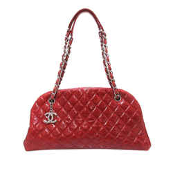 Vintage Authentic Chanel Red Mademoiselle Patent Leather Bowling Bag France