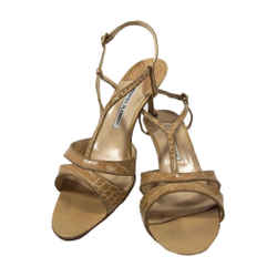MANOLO BLAHNIK Tan Crocodile Open Toe Heels with Ankle Straps Size 39