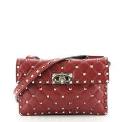Rockstud Spike Flap Shoulder Bag Quilted Leather Small