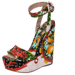 Dolce & Gabbana Multicolor Floral Printed Fabric Foulard Platform Wedge Sandals