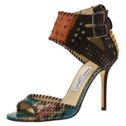 Jimmy Choo Multicolor Studded Genuine Snakeskin Ankle Strap Sandals Sz 39 8.5