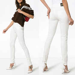 28 NEW $950 GUCCI White STRETCH DENIM Skinny Fitted LOGO PATCH High Waist JEANS