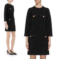 XXS US 0/2 NEW $3,500 GUCCI Black Compact Jersey GG Buttons SEQUIN TRIM DRESS