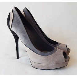 New $735 Gucci Tri-color Suede Peep Toe Platform Heels - Gray/black - Size 40