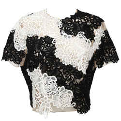 Erdem Lace Top Blouse Shirt Emiko Applique Black White Nude Short Sleeve Us 10