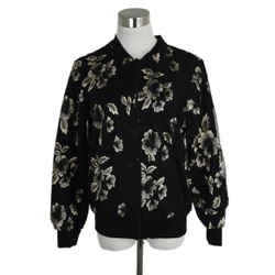 Anne Fontaine Black And Gold Mesh Embroidered Jacket Sz. 4