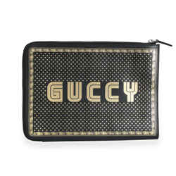 Gucci Black & Gold Magnetismo Print Leather Pouch