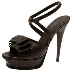 Saint Laurent Paris Brown Leather Y-Bow Platform Sandals Size 38