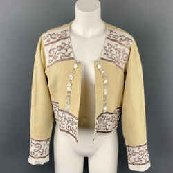 DRIES VAN NOTEN Size 4 Beige Embroidered Linen Open Front Jacket