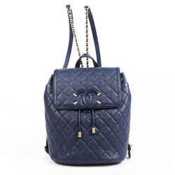 Chanel Backpack Filigree Blue Quilted Leather CC Chainlink