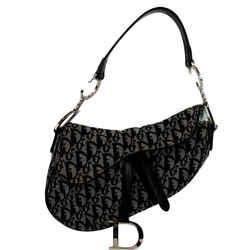 CHRISTIAN DIOR Saddle Oblique Jacquard Shoulder Bag Black