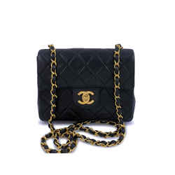 Chanel Vintage Black Square Mini Flap Bag 24k GHW Lambskin