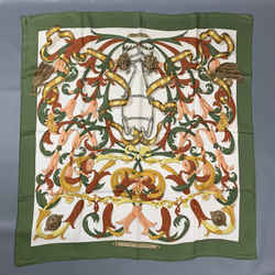 Vintage HERMES Le Mors A LaConetable by Henri D'Origny Green & Rust Tapestry Silk Scarf