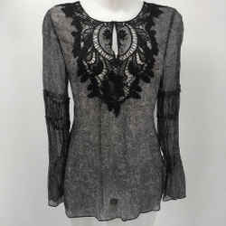 Elie Tahari Grey/black Long Sleeve Lace Tunic Size Small