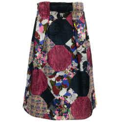 ERDEM Multi Patchwork Hester Belted Silk and Wool Skirt