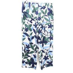 Max Mara White Navy Floral Print Pants sz 12