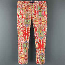 POLO by RALPH LAUREN Size 34 Multi-Color Paisley Cotton Zip Fly Casual Pants