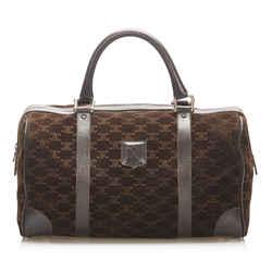 Vintage Authentic Celine Brown Dark Brown Suede Leather Macadam Boston Bag Italy