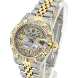 Rolex White Mop Womens Datejust Diamond Dial 14k Diamond Bezel-Watch