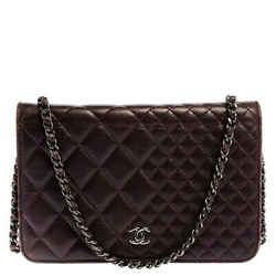 Chanel Plum Quilted Leather Classic Wallet On Chain