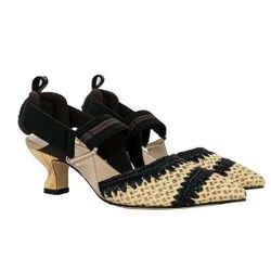 Fendi Black and Beige Colibri Woven Raffia Slingback Pumps US 5.5 / EU 35.5