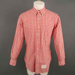 Thom Browne Size Xl Red & White Plaid Cotton Button Down Long Sleeve Shirt
