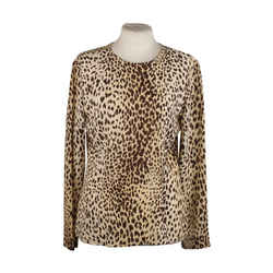 Valentino Vintage Animalier Leopard Print Silk Blouse Size 6