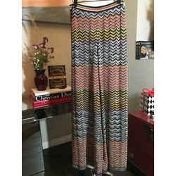 Missoni Size 42 Orange & Black Knit Zig Zag Pants 2400-379-122719