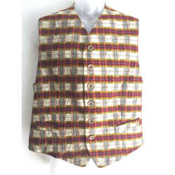 Vintage KENZO Beige/Multicolor Crinkled Plaid Silk Men's Vest