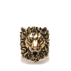 Vintage Authentic Gucci Gold  Metal Lion Head Ring Italy w/ Dust Bag, Box