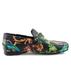 Versace Acid Leather Loafers Baroque Print Sz US 7 Authenticity Guaranteed