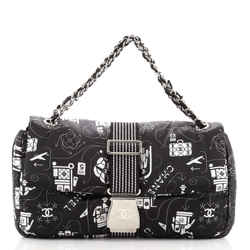 Airlines Chain Buckle Flap Bag Printed Satin Medium