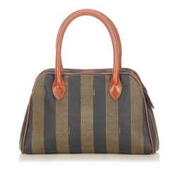 Vintage Authentic Fendi Brown  with Black Canvas Fabric Pequin Handbag Italy