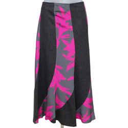 DRIES VAN NOTEN Skirt Midi Long Grey Pink Silk Print Sz 38