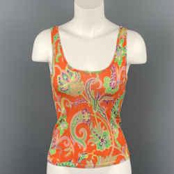RALPH LAUREN Collection Size S Orange Multi-Color Silk Dress Top