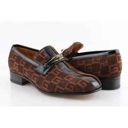 Gucci Suede Loafers Logo-Print Striped Brown US-9 Authenticity Guaranteed