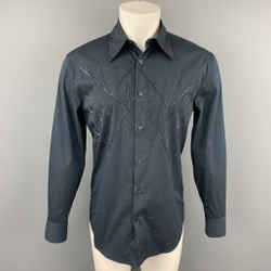 GIANNI VERSACE Size XS Navy Beaded Cotton Blend Button Up Long Sleeve Shirt