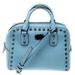 Michael Michael Kors Blue Leather Studded Top Handle Shoulder Bag