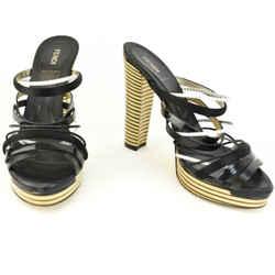 FENDI: Black/White, Strappy Leather Platform Sandals/Heels Sz: 7M